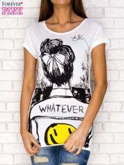T-shirt z napisem WHATEVER ecru