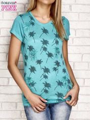 T-shirt z palmowym nadrukiem zielony