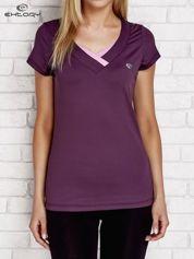 T-shirt z trójkątnym dekoltem ciemnofioletowy