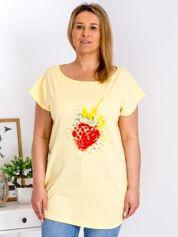 T-shirt żółty z truskawką PLUS SIZE