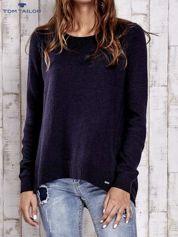 TOM TAILOR Granatowy sweter z materiałową wstawką z tyłu