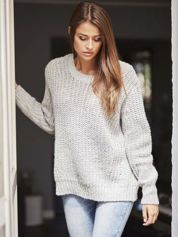 TOM TAILOR Szary wełniany sweter o grubym splocie