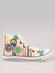 Trampki za kostkę w kolorowe paski w stylu hippie Flower Power