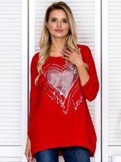 Tunika damska z malarskim sercem czerwona