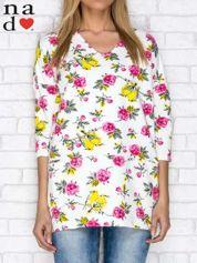 Tunika dresowa oversize w kwiaty i ptaki z kieszeniami ecru