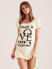 Tunika jasnożółta bawełniana SUMMER IN LOVE