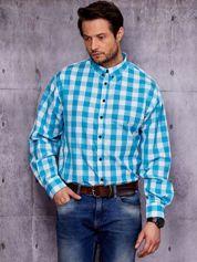 Turkusowa koszula męska w kratę PLUS SIZE
