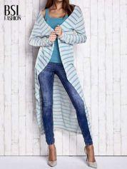 Turkusowy długi sweter w paski