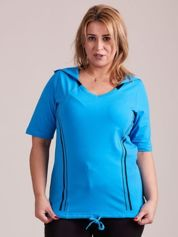 Turkusowy t-shirt z kapturem PLUS SIZE