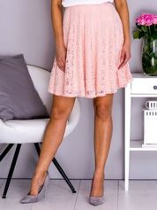 VIA DELLE ROSE Różowa rozkloszowana koronkowa spódnica