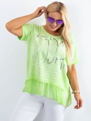 Zielona bluzka plus size z nadrukiem