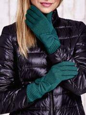 Zielone długie rękawiczki z kokardą i prążkowanym ściągaczem