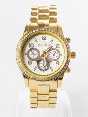 Złoty zegarek na bransolecie z cyrkoniami i srebrną tarczą