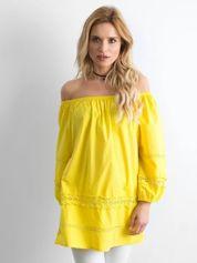 Żółta bawełniana tunika z hiszpańskim dekoltem