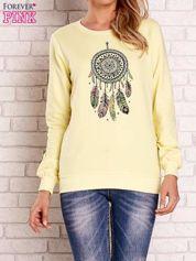 Żółta bluza z nadrukiem łapacza snów