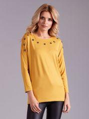 Żółta bluzka damska z aplikacją