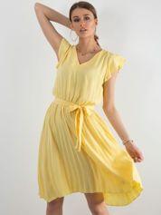 Żółta sukienka damska z wiązaniem