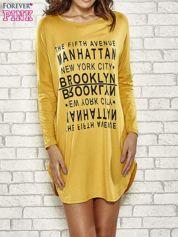 Żółta sukienka z napisem NEW YORK CITY