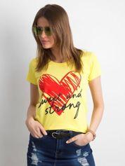 Żółty damski t-shirt z bawełny