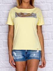 Żółty t-shirt z błyszczącym nadrukiem
