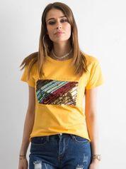 Żółty t-shirt z cekinami