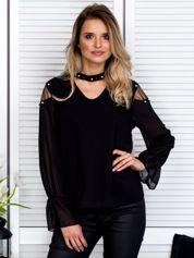 Zwiewna bluzka z chokerem i perełkami czarna