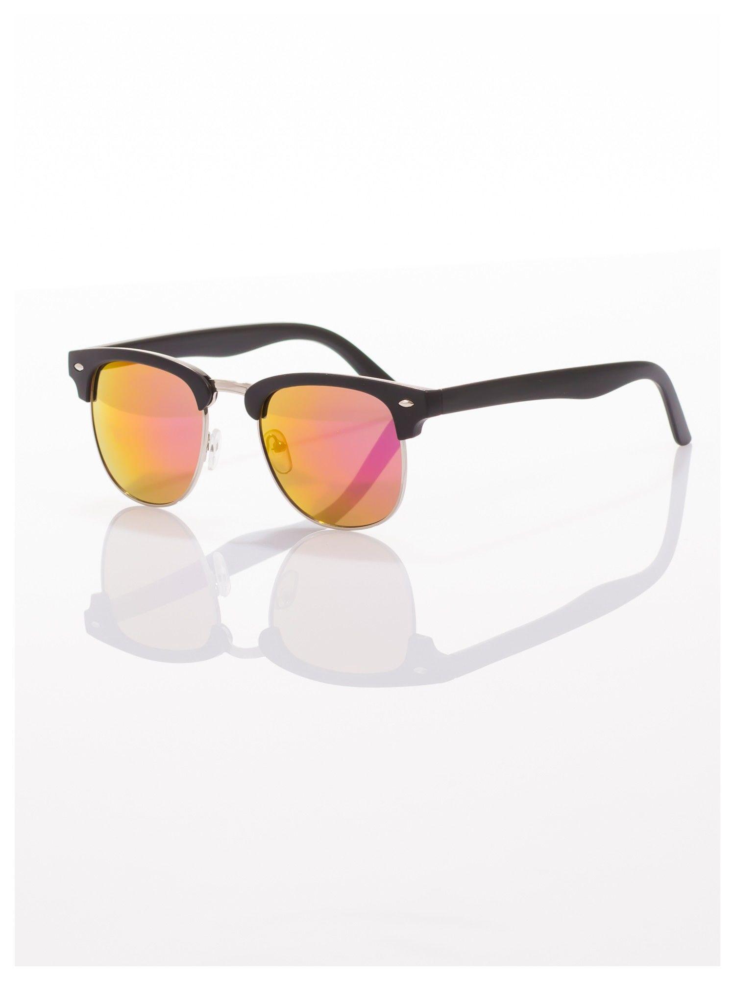 Czarne okulary przeciwsłoneczne lustrzanki typu CLUBMASTER                                   zdj.                                  1