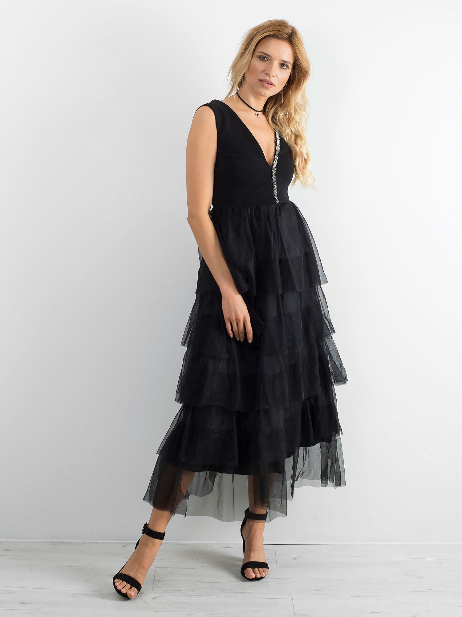 163dfd3165 BY O LA LA Czarna elegancka sukienka - Sukienka wieczorowa - sklep ...