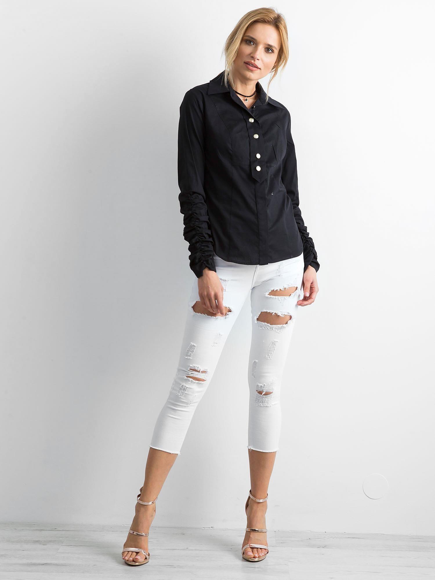 6b0006bddd6690 BY O LA LA Czarna koszula damska - Koszula klasyczna - sklep eButik.pl