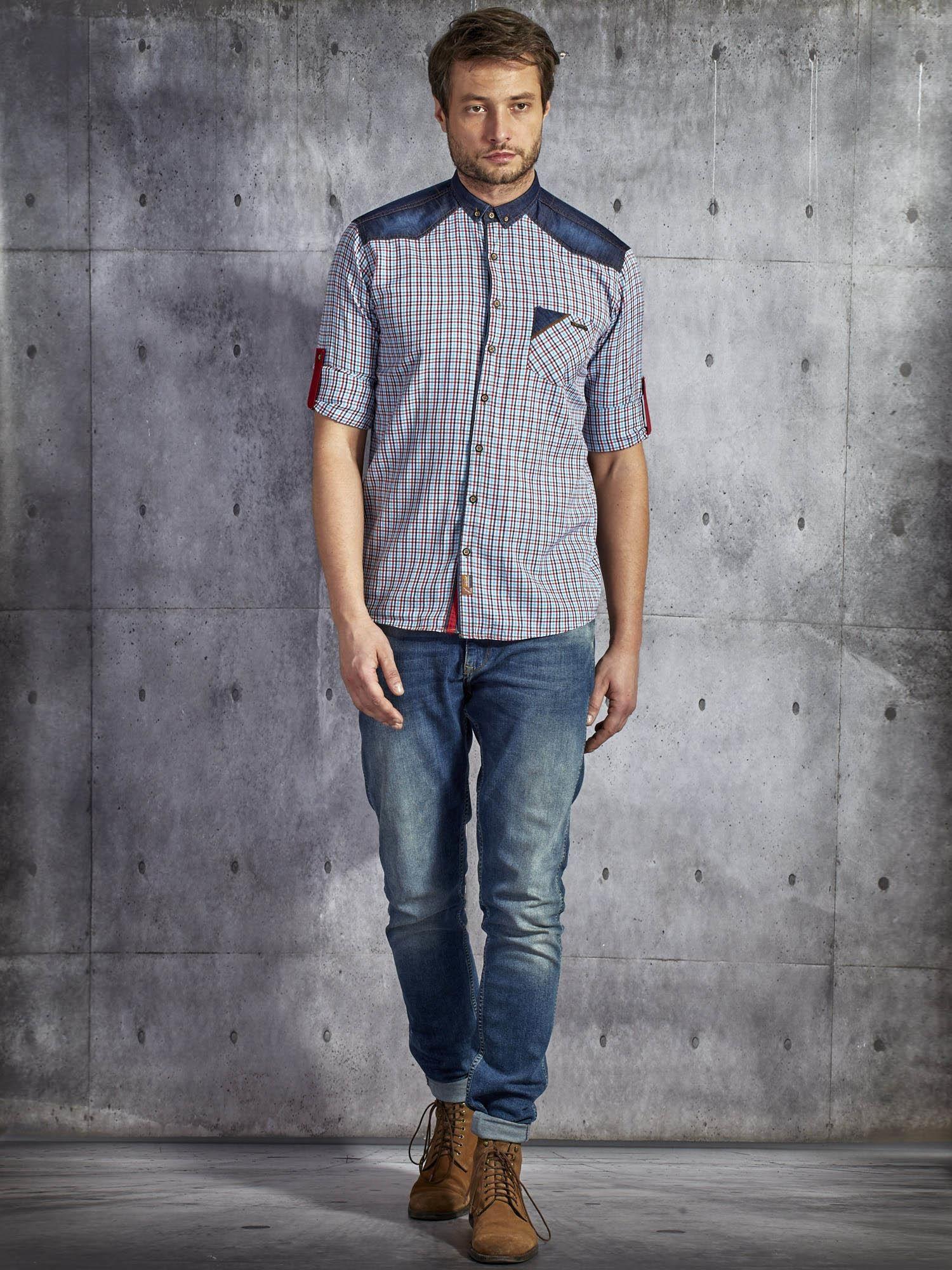 Bawełniana koszula męska w kratkę czerwono niebieska PLUS  xx4ov