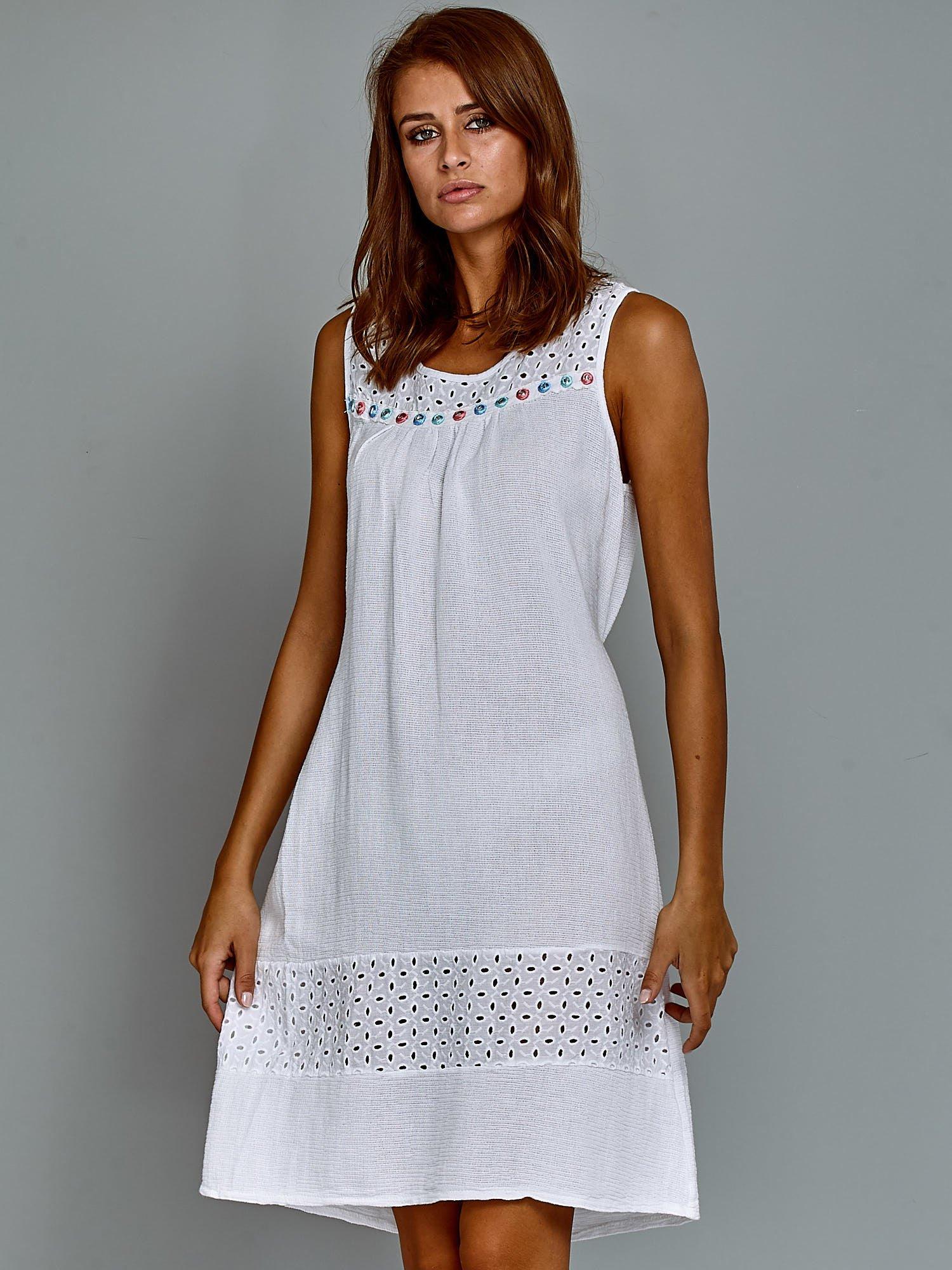 86fbb34b6a Bawełniana sukienka letnia z domieszką lnu biała - Sukienka na co ...