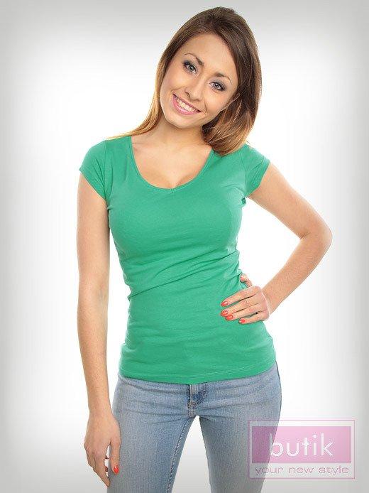 Bawełniana zielona bluzka na krótki rękaw FOR FITNESS                                  zdj.                                  2