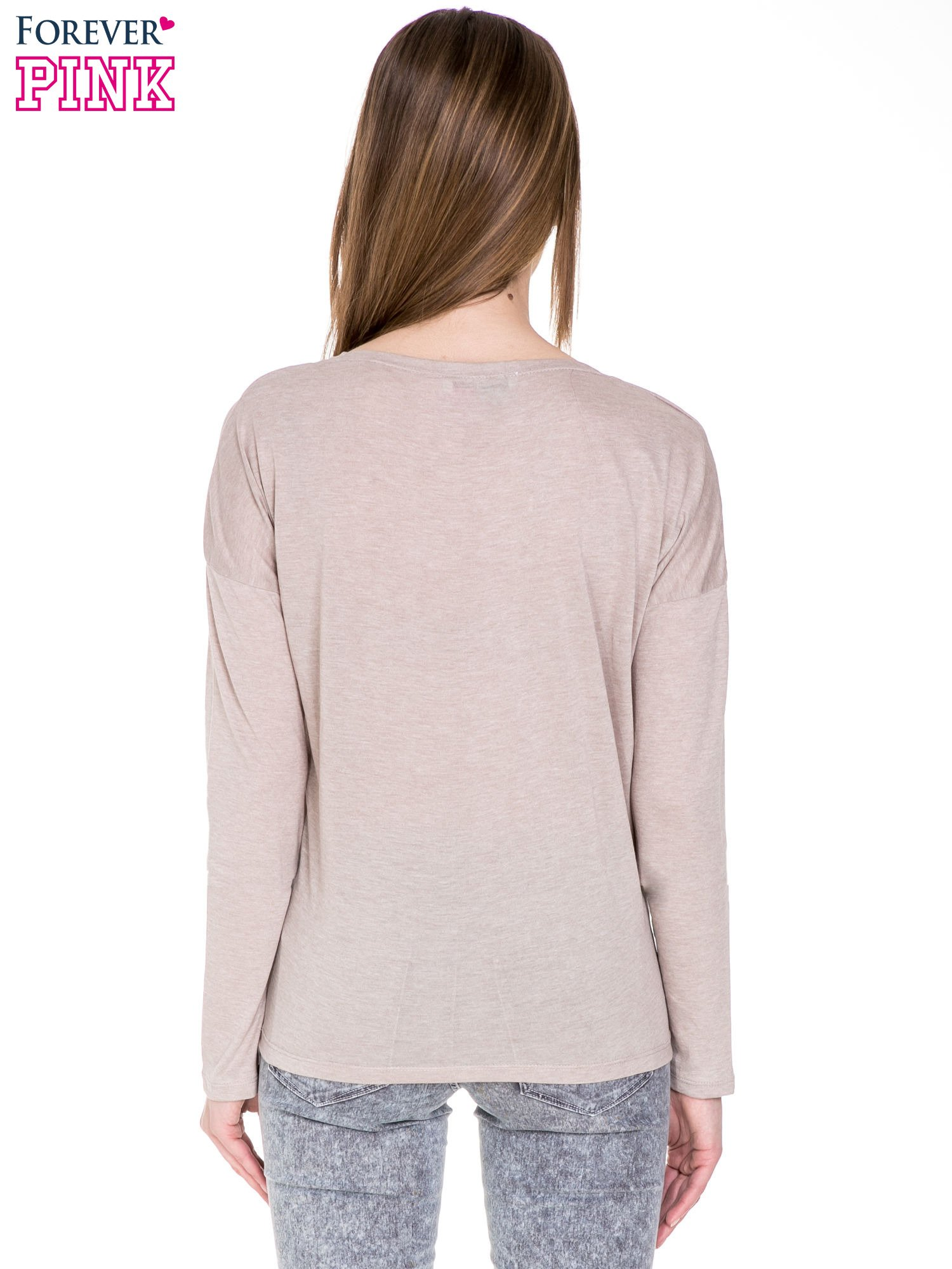 Beżowa bawełniana bluzka z dekoltem typu woda                                  zdj.                                  3