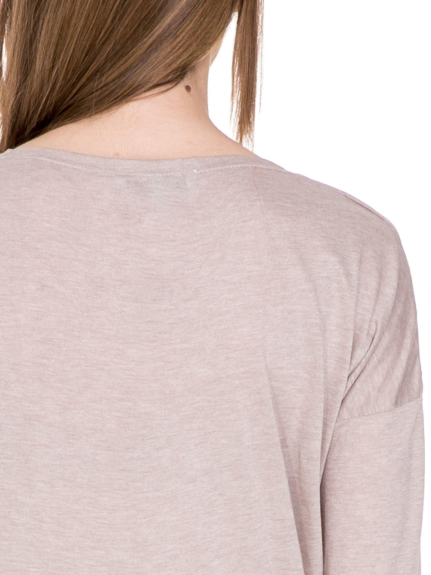 Beżowa bawełniana bluzka z dekoltem typu woda                                  zdj.                                  6