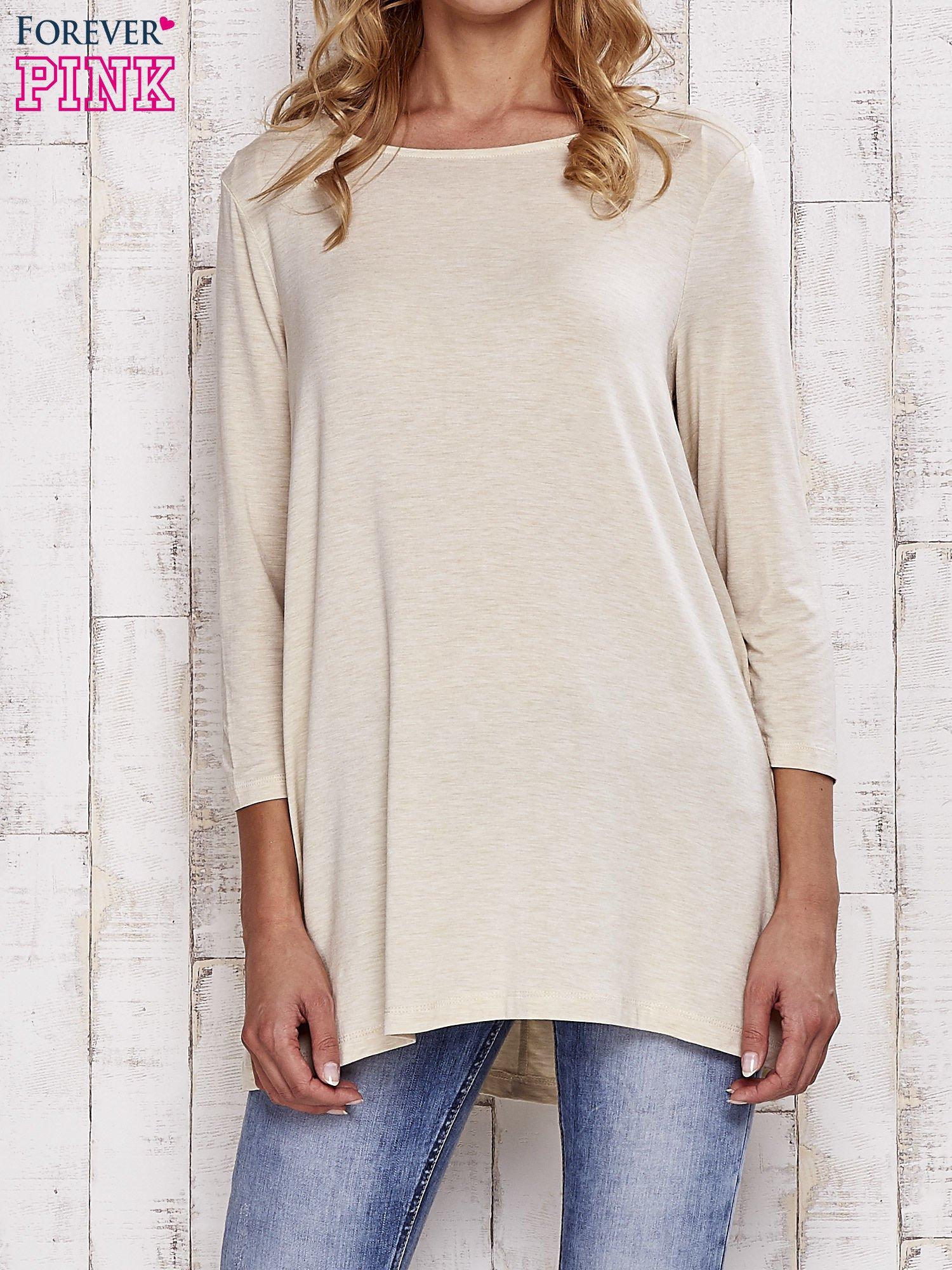 Beżowa melanżowa bluzka z łezką na plecach                                  zdj.                                  1