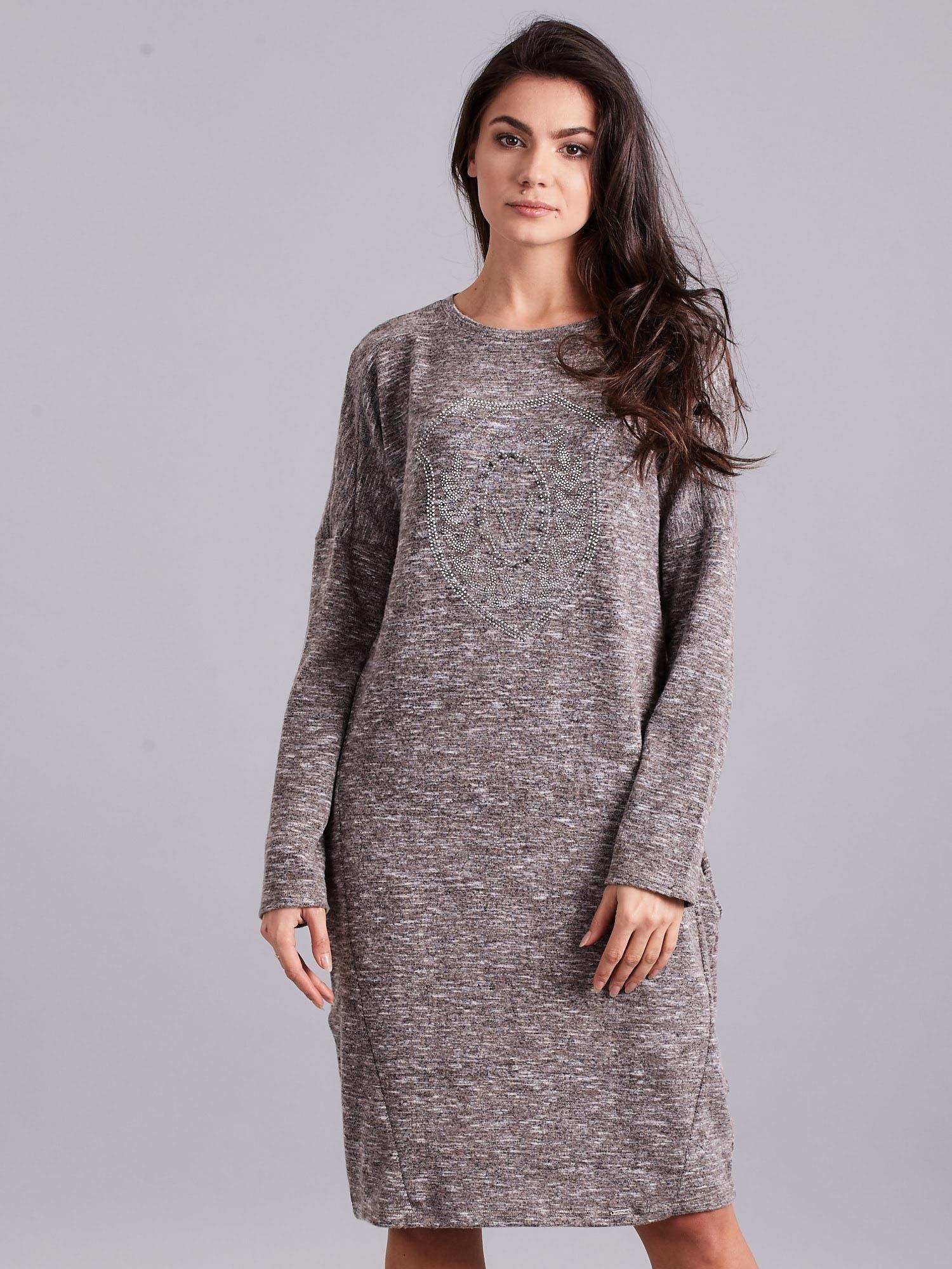 3766d1d250 Szaro-beżowa melanżowa sukienka z aplikacją - Sukienka na co dzień ...
