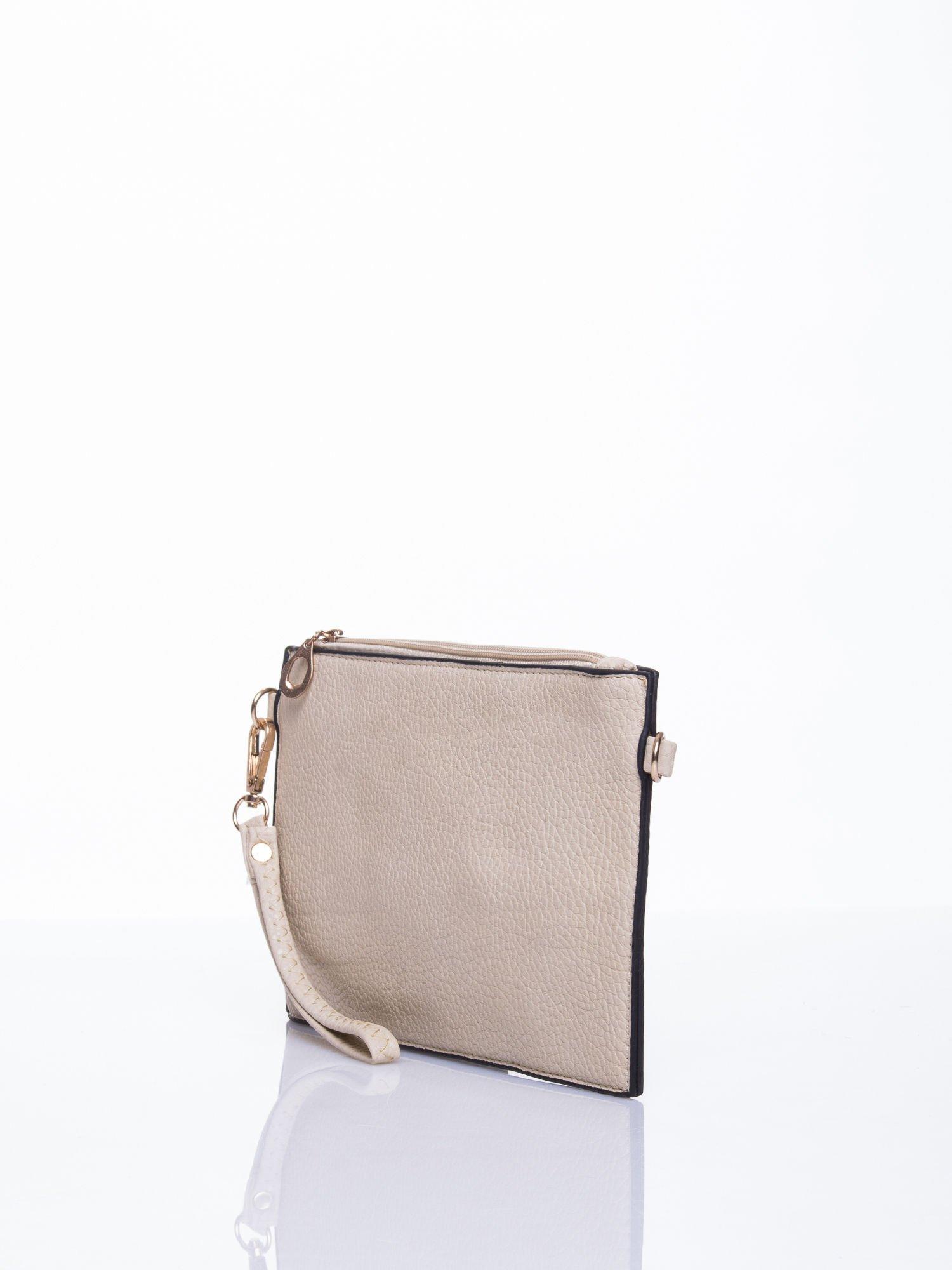 Beżowa prosta przewieszana torebka z uchwytem                                  zdj.                                  3