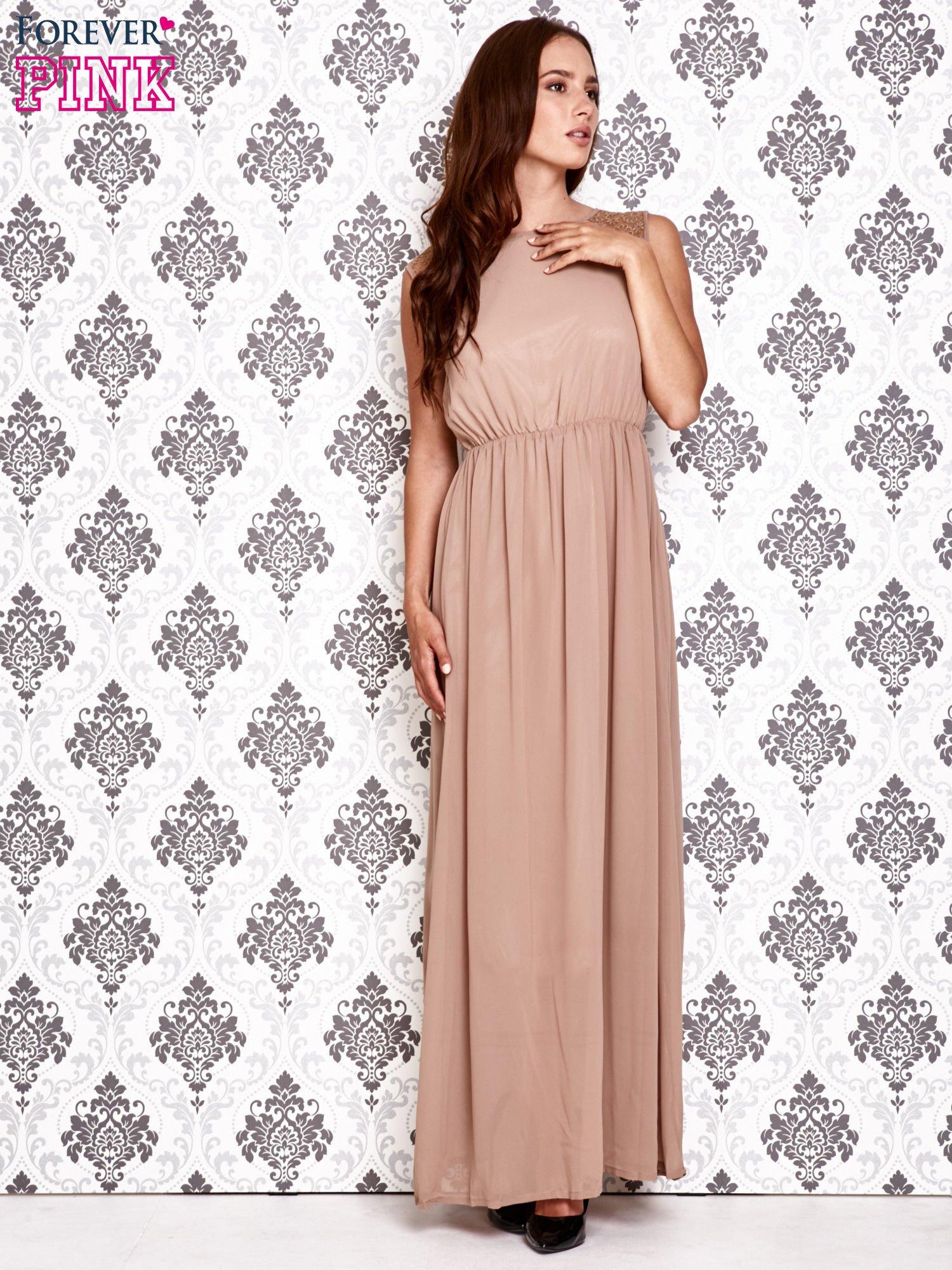 Beżowa sukienka maxi z koronkowym tyłem                                  zdj.                                  2