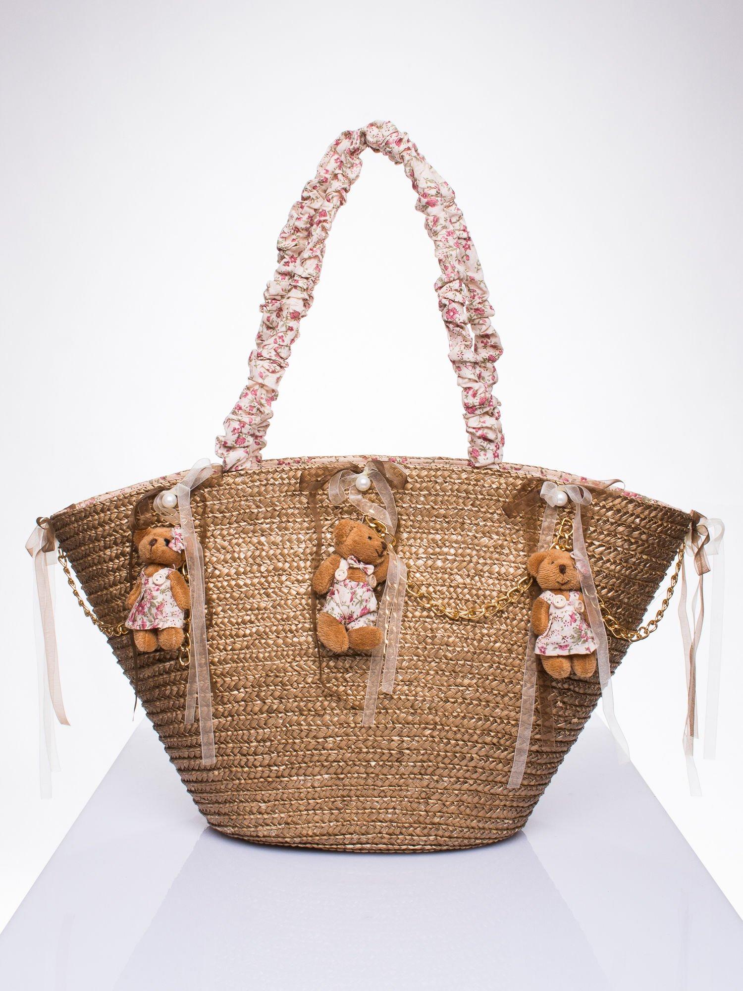 Beżowa torba koszyk plażowy w stylu romantic                                  zdj.                                  1