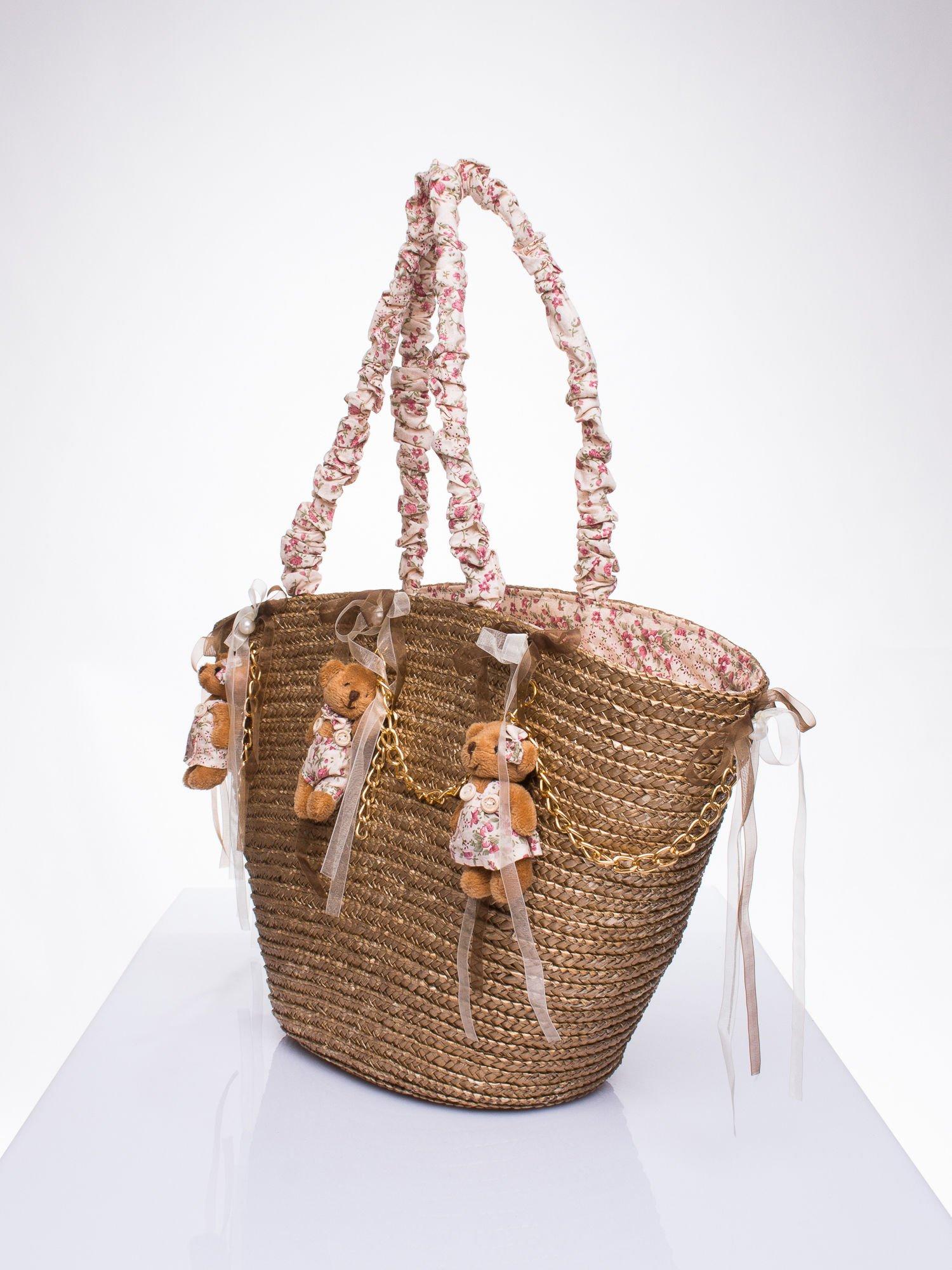 Beżowa torba koszyk plażowy w stylu romantic                                  zdj.                                  2