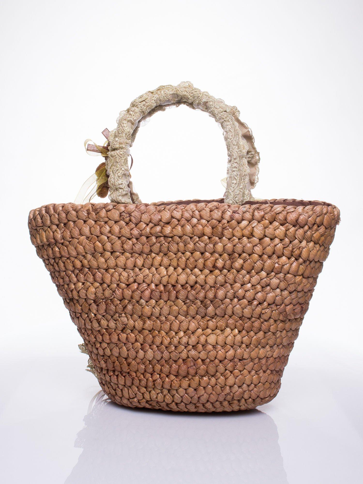 Beżowa torba koszyk plażowy z misiami                                  zdj.                                  4