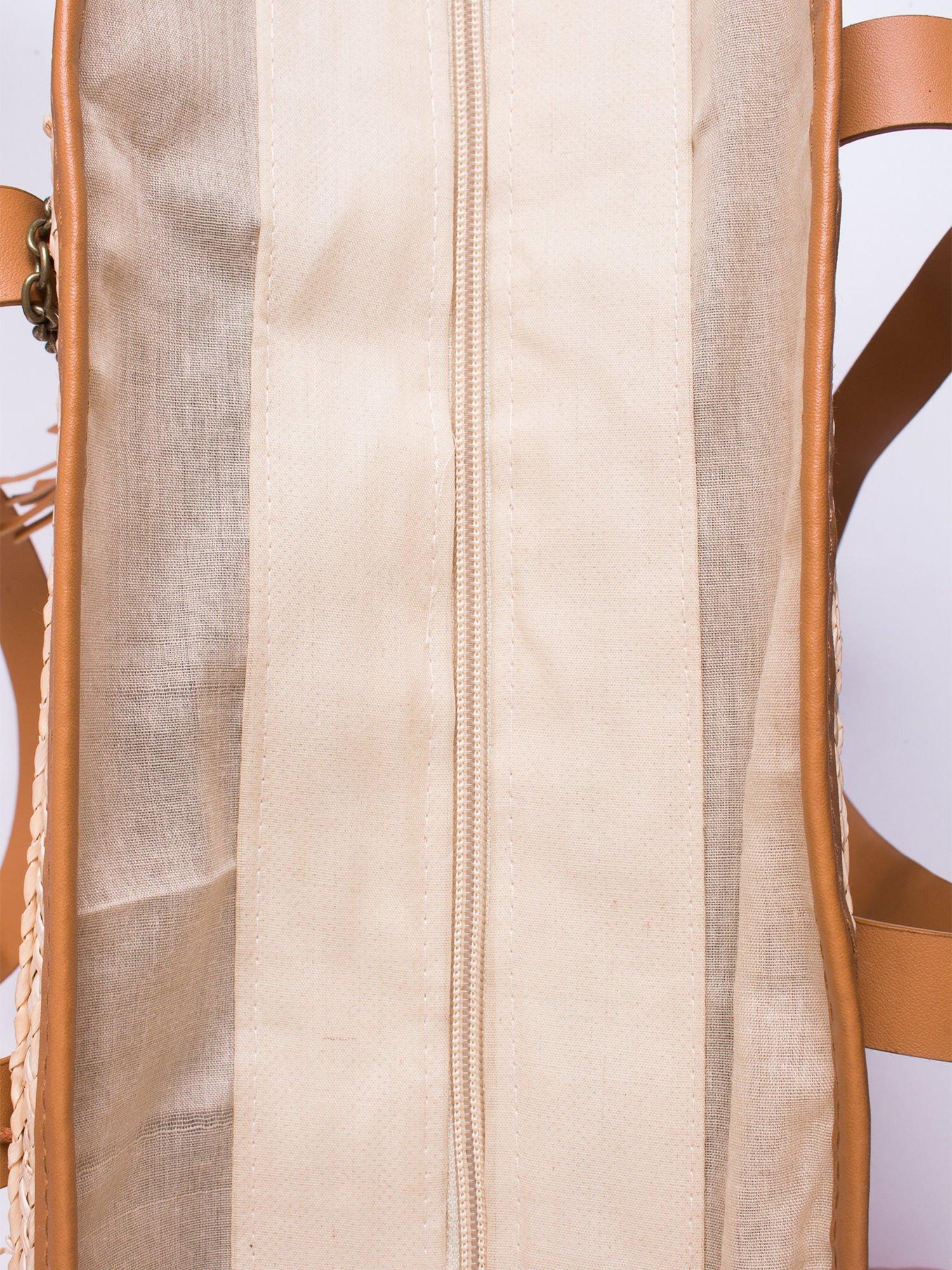 Beżowa torba koszyk plażowy ze skórzanymi rączkami                                  zdj.                                  5
