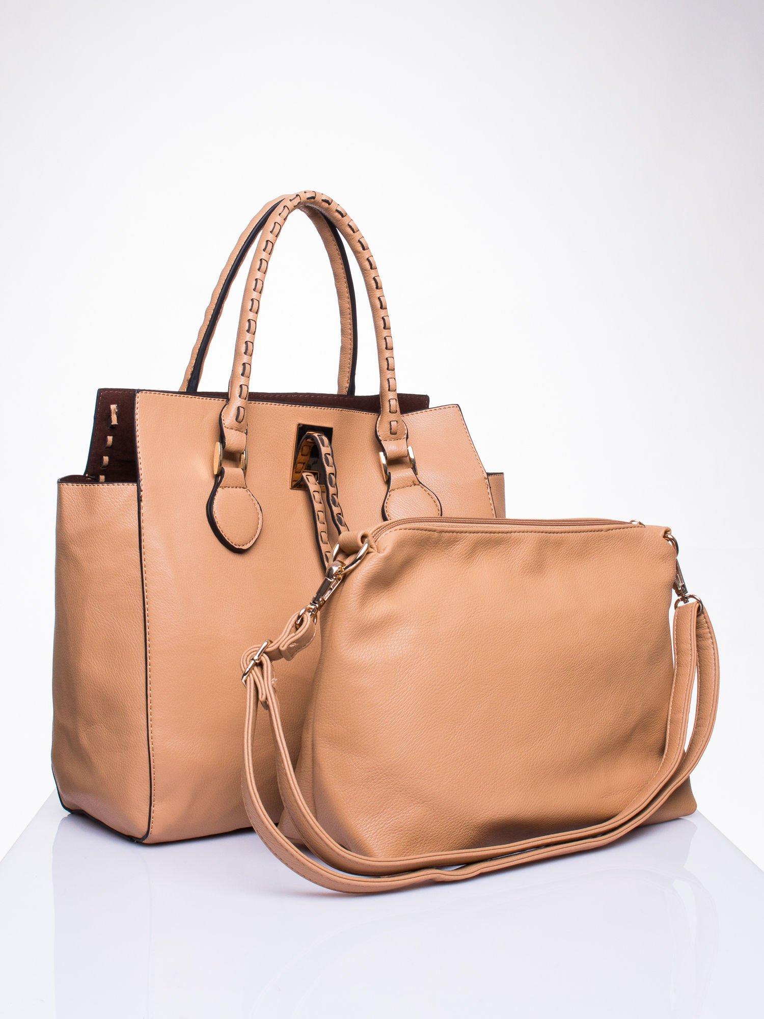 Beżowa torba z ozdobnymi skórzanymi troczkami                                  zdj.                                  4