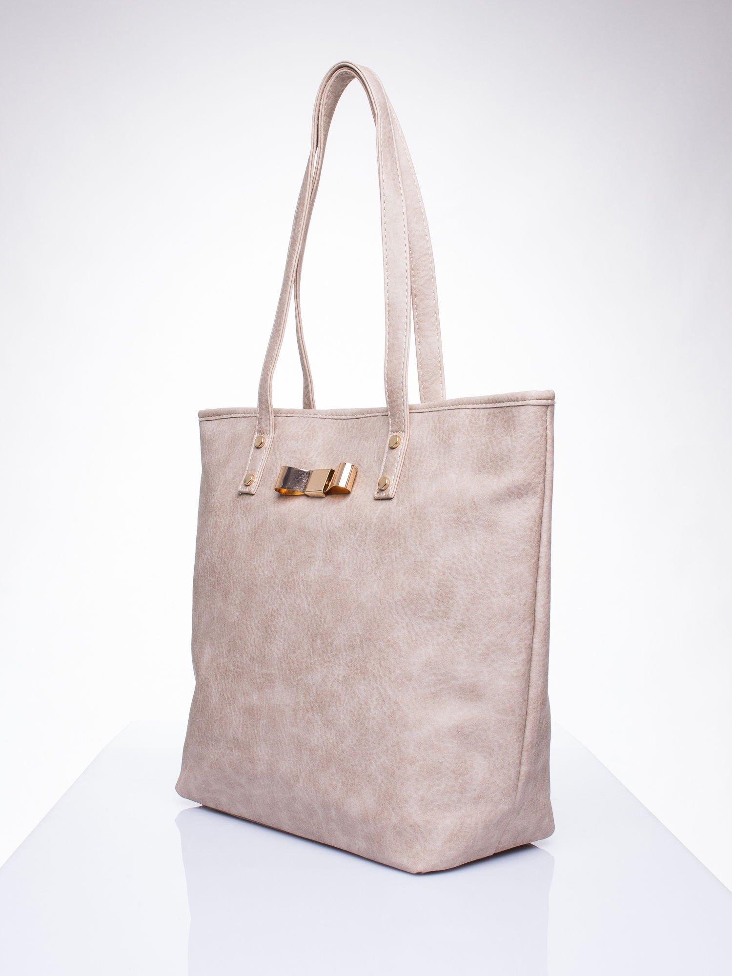 Beżowa torebka shopper bag z kokardką                                  zdj.                                  2