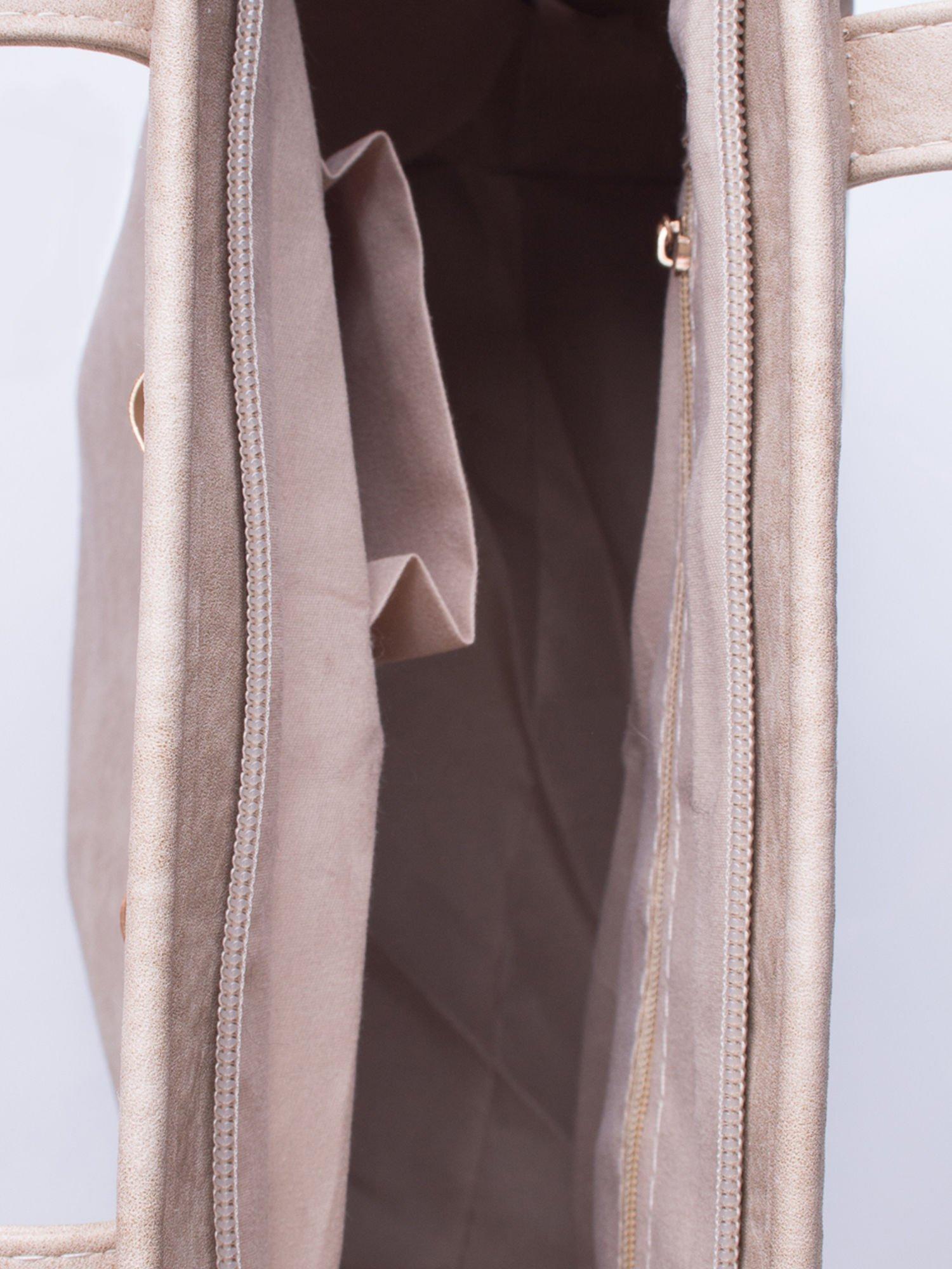 Beżowa torebka shopper bag z kokardką                                  zdj.                                  4