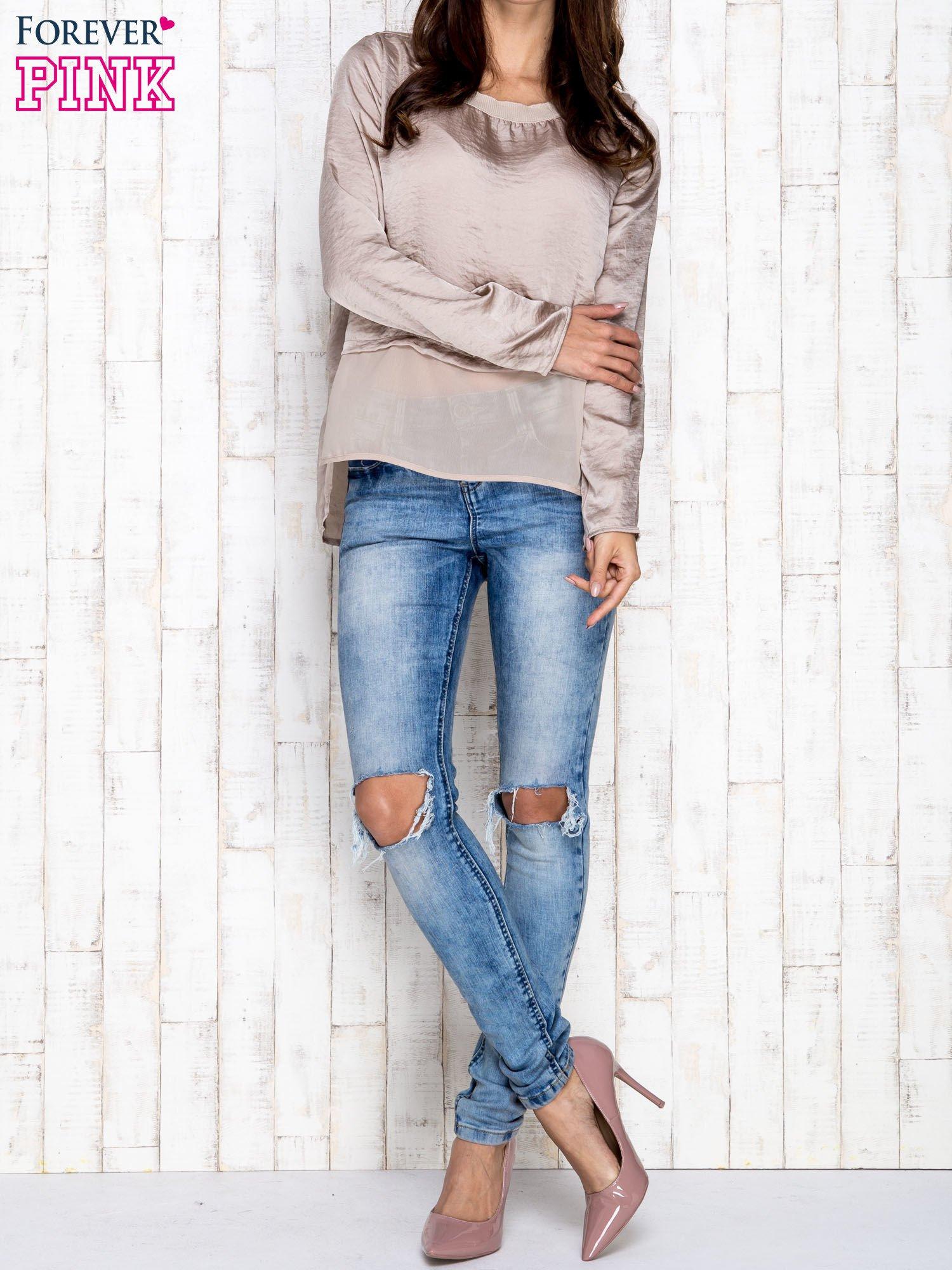 Beżowa warstwowa bluzka oversize                                  zdj.                                  4