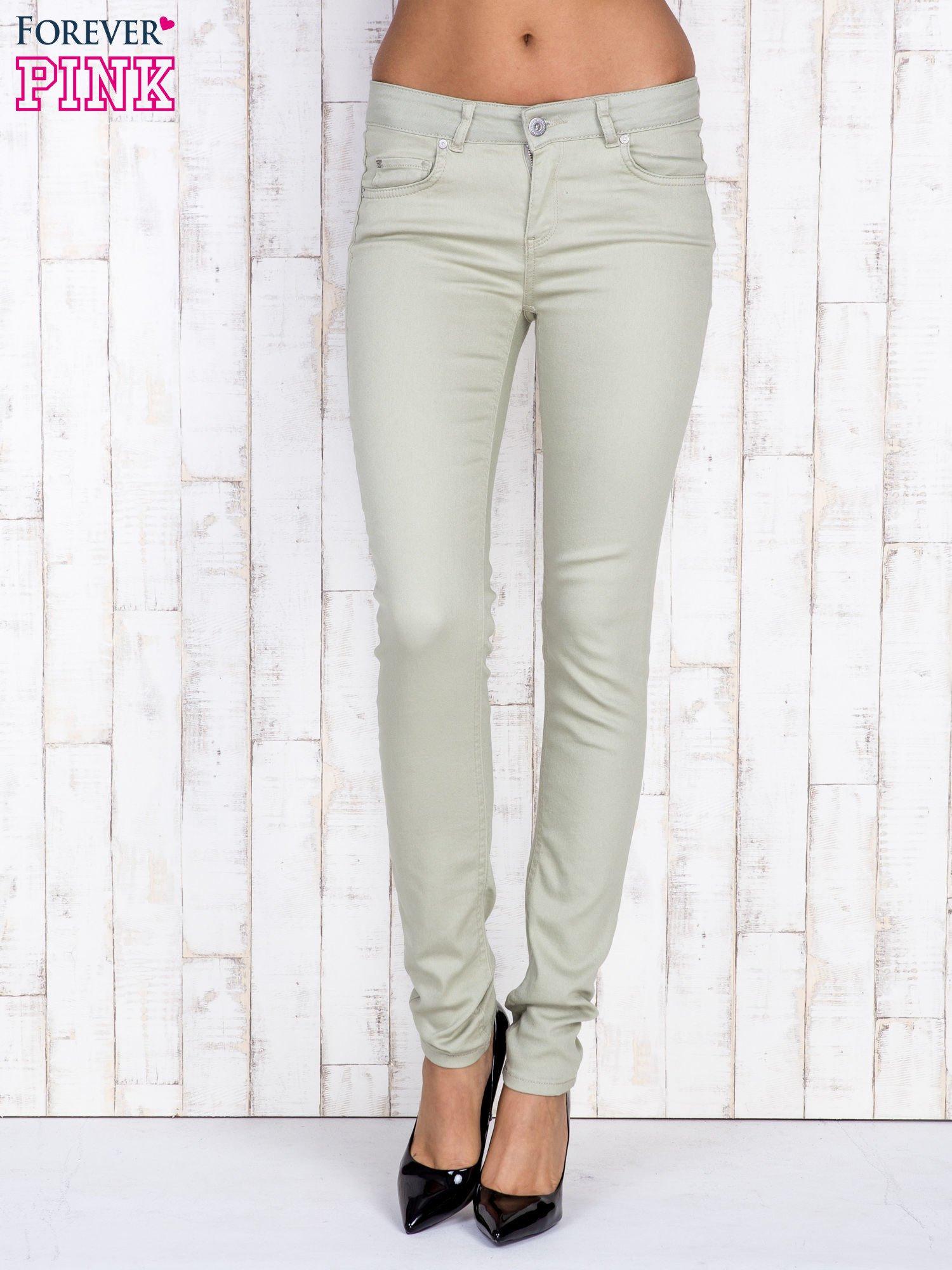 Beżowe proste spodnie skinny                                  zdj.                                  1
