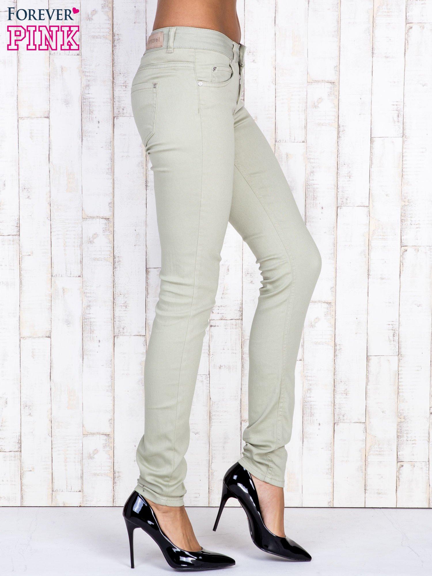 Beżowe proste spodnie skinny                                  zdj.                                  3