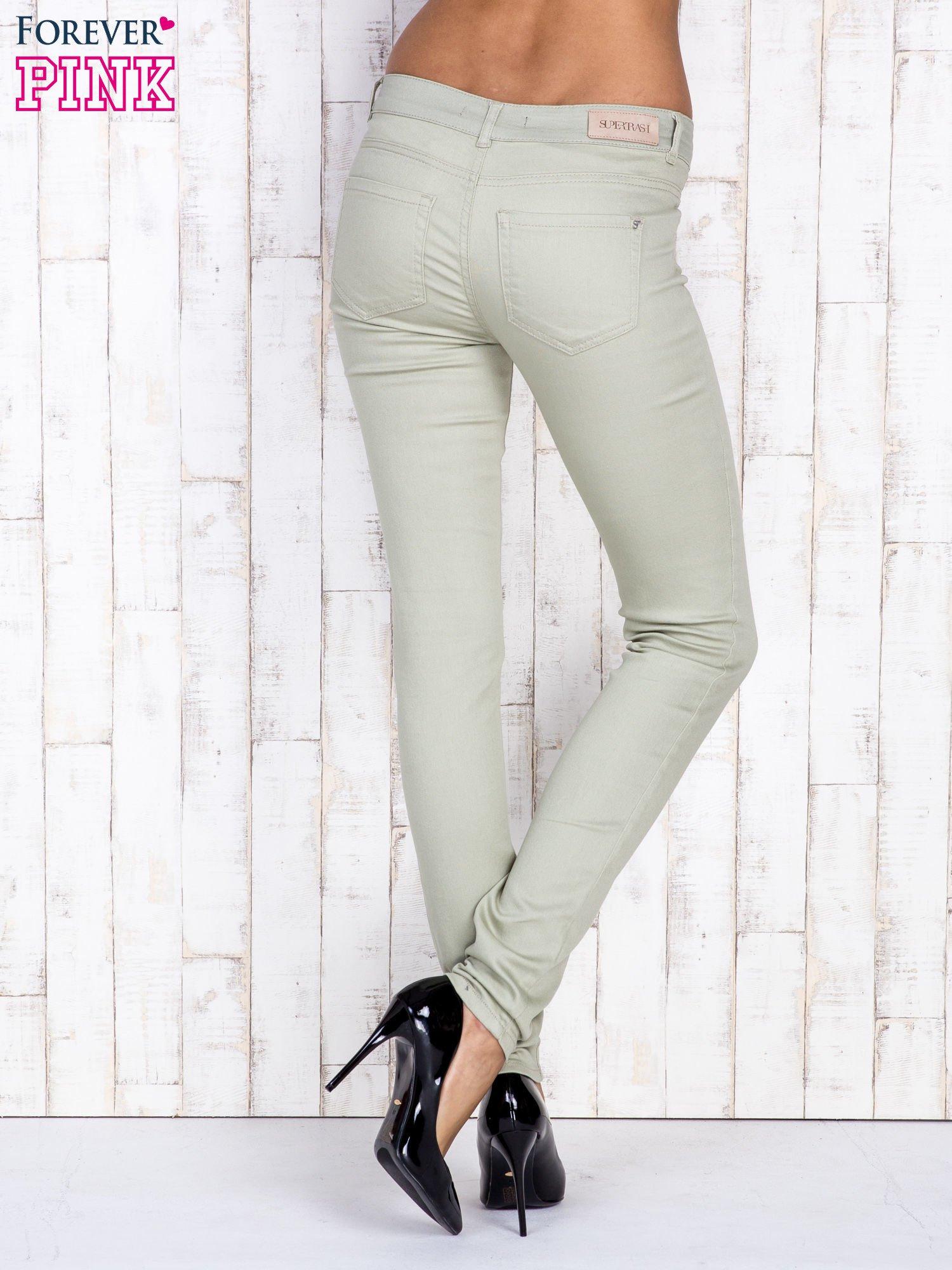 Beżowe proste spodnie skinny                                  zdj.                                  2