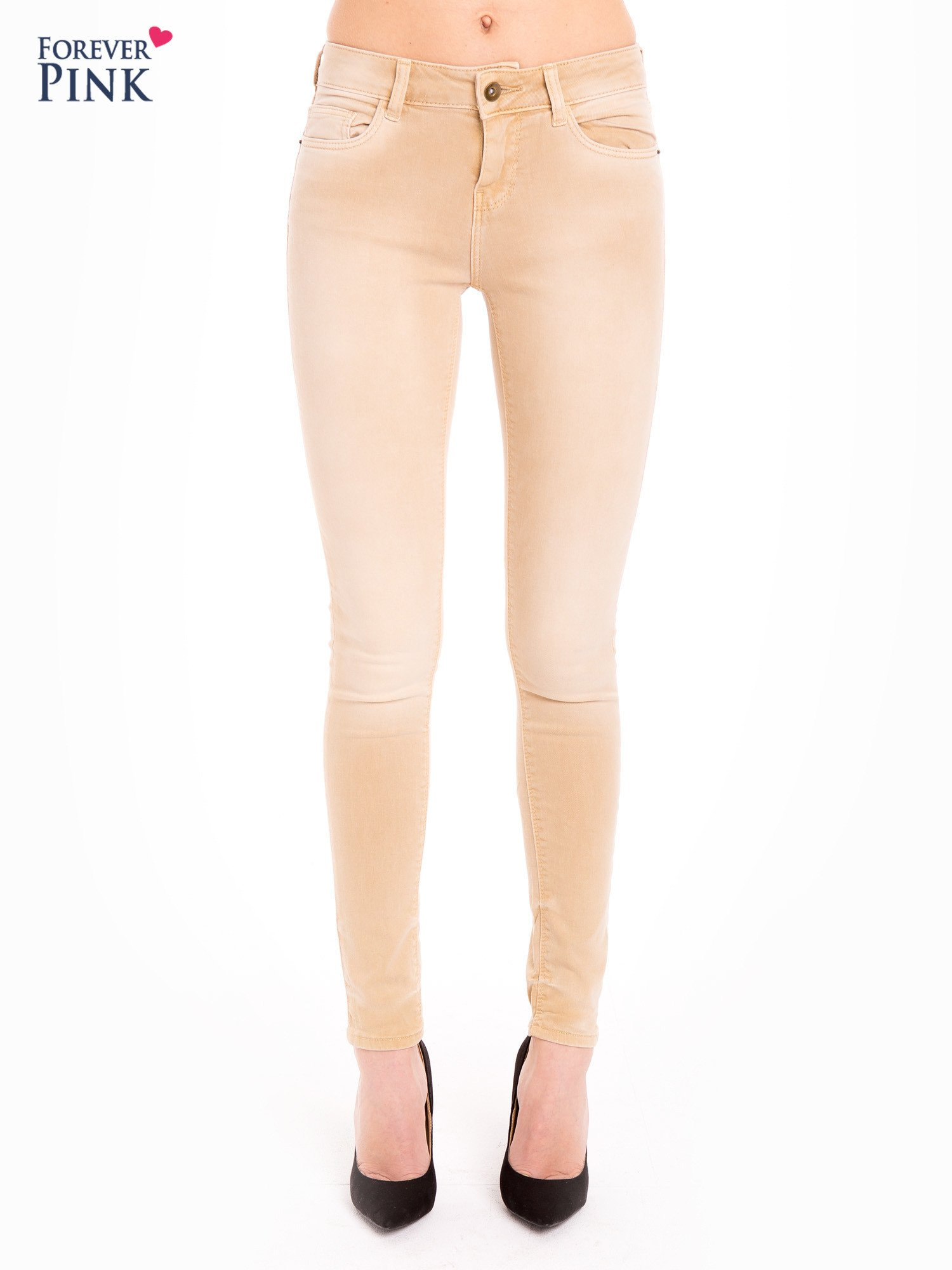 Beżowe spodnie jeansowe super skinny                                  zdj.                                  1